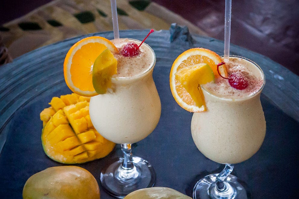 At the Nisbet Plantation Beach Club in Nevis, Fanny Nisbet's Mango Colada is a creamy cocktail worth the splurge