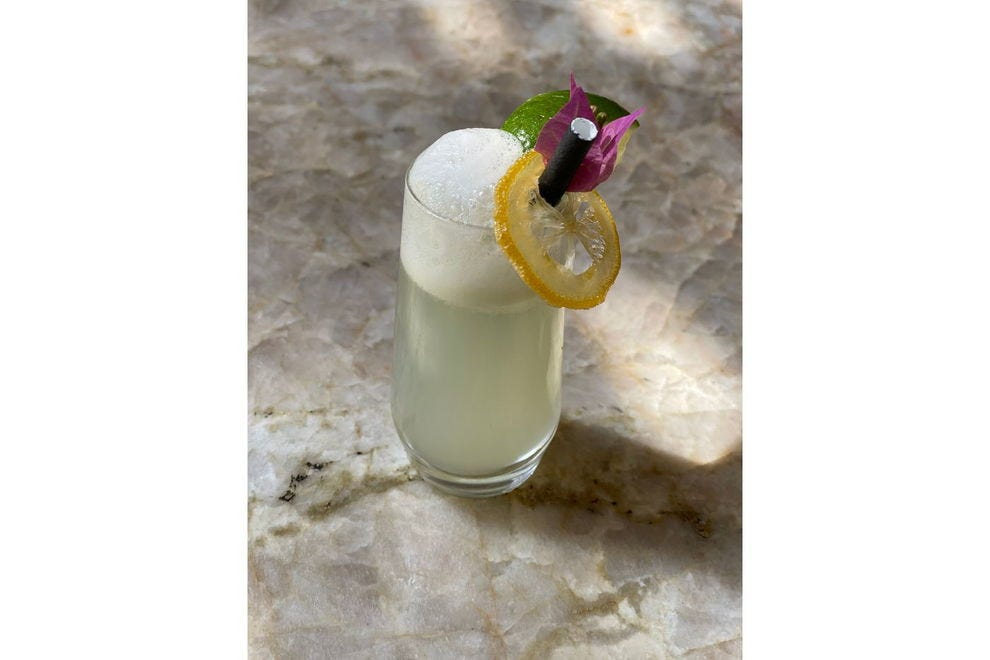 Pisco Sour at The Shore Club in Turks & Caicos Islands is an old school cocktail with a tropical twist