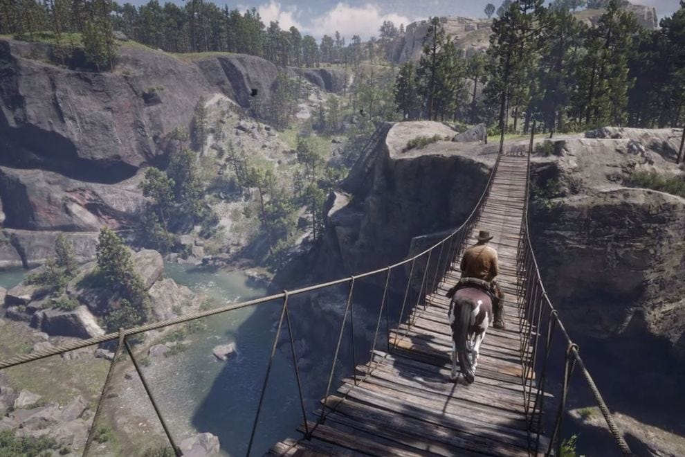 Arthur Morgan traverses a perilous bridge in Red Dead Redemption 2