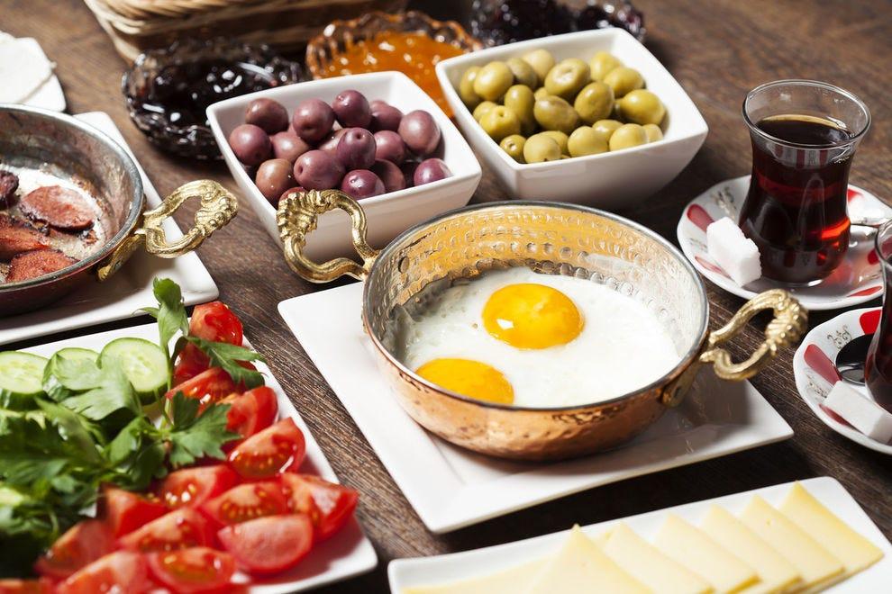 Fresh Mediterranean ingredients come together to make a Turkish breakfast