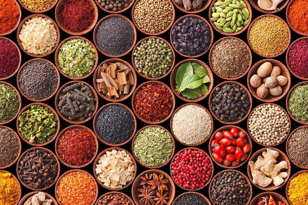 An assortment of spices and herbs