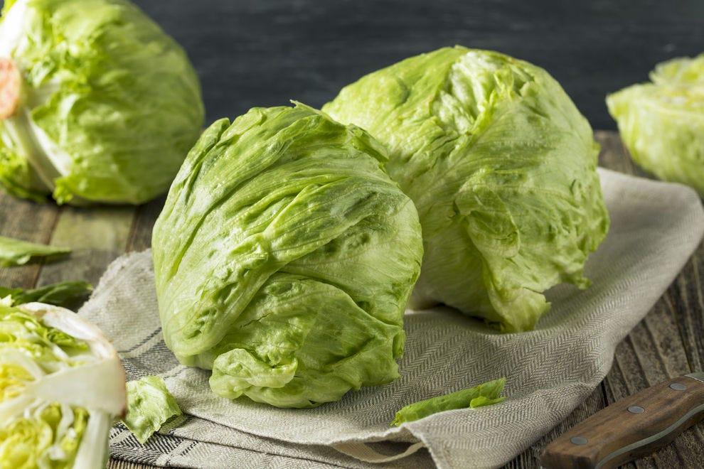 A crisp head of iceberg lettuce