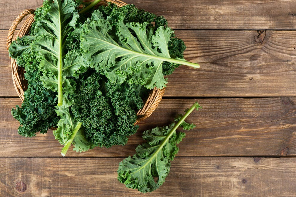 Raw, freshly harvested kale