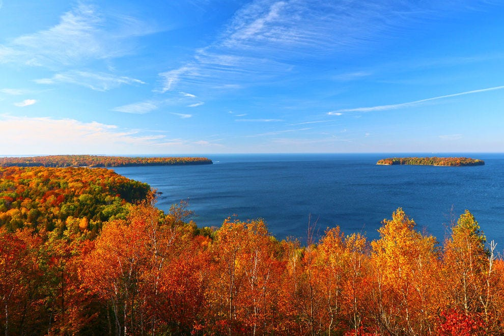 Autumn views with a backdrop of water in Door County