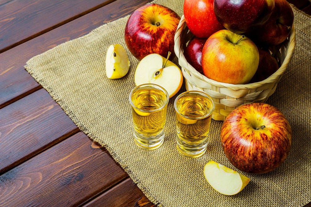 Brandy is often distilled from apples or grapes