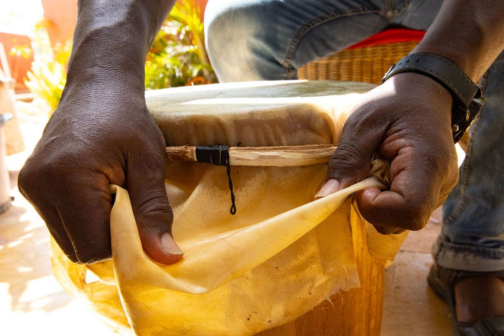 Stretching a drum