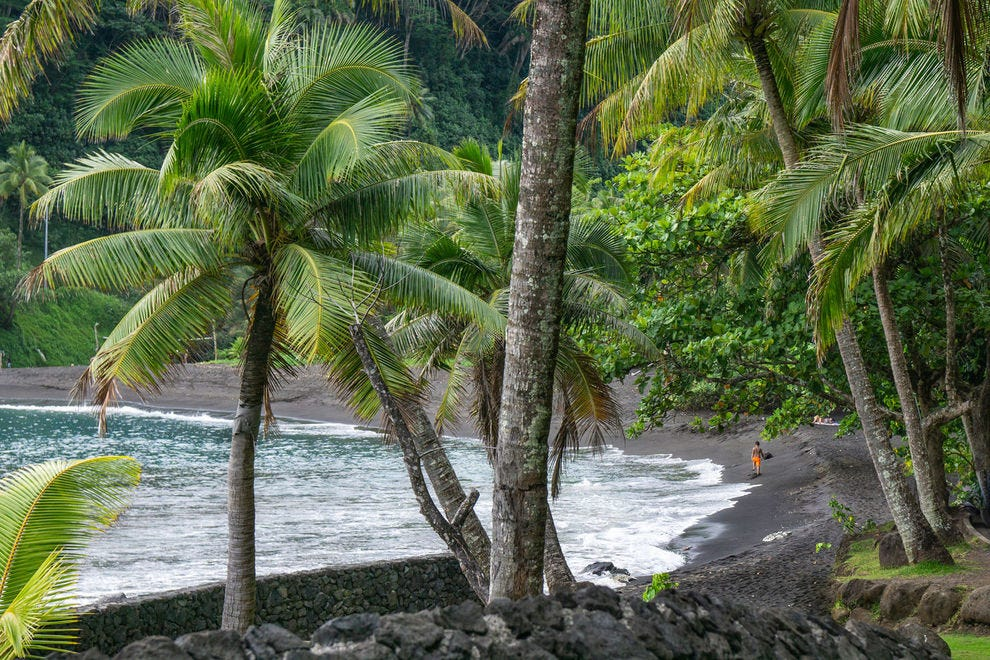 Black sand beach on Tahiti