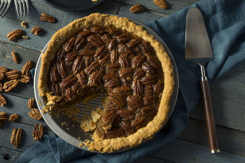 Both the flavor of its syrupy filling and the texture of the pecans makes the pecan pie an American classic