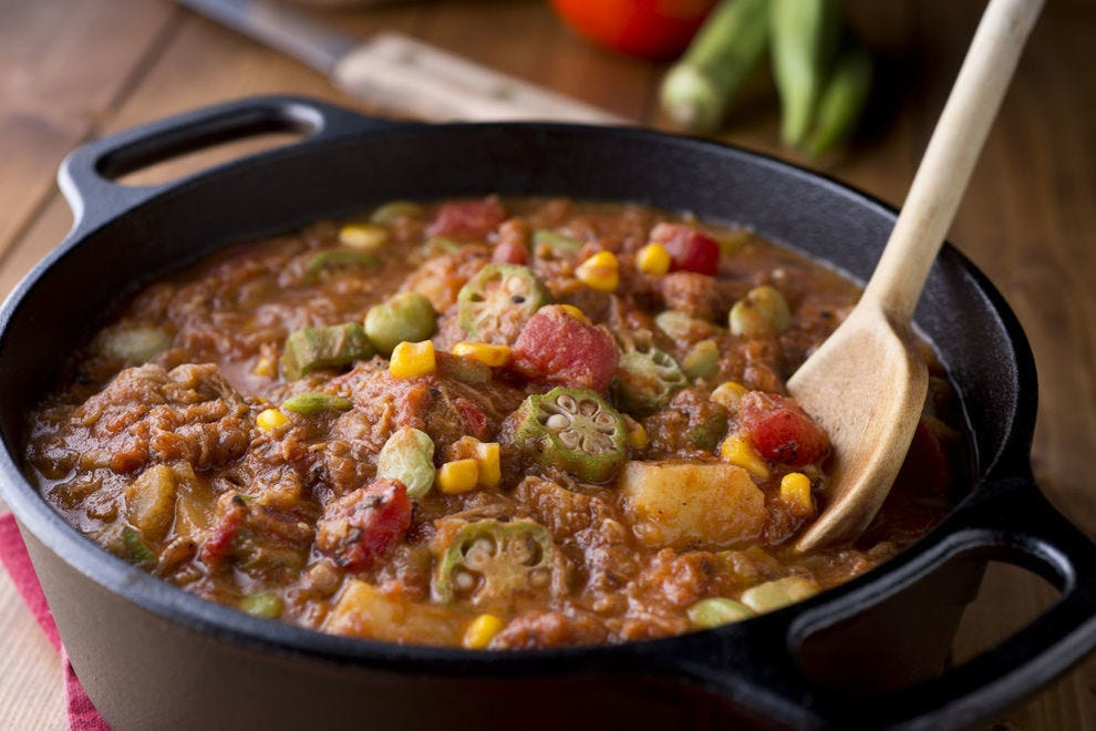 The longer that Brunswick stew simmers, the more tender the meat and vegetables become