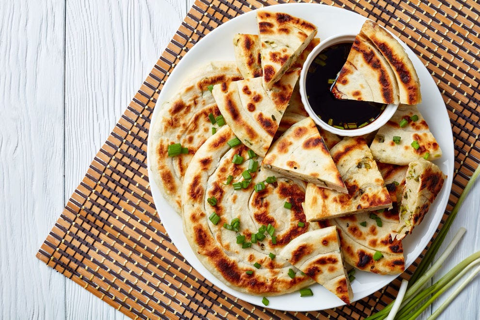 Scallion pancakes are just as good plain as they are dipped in a tangy soy-based sauce