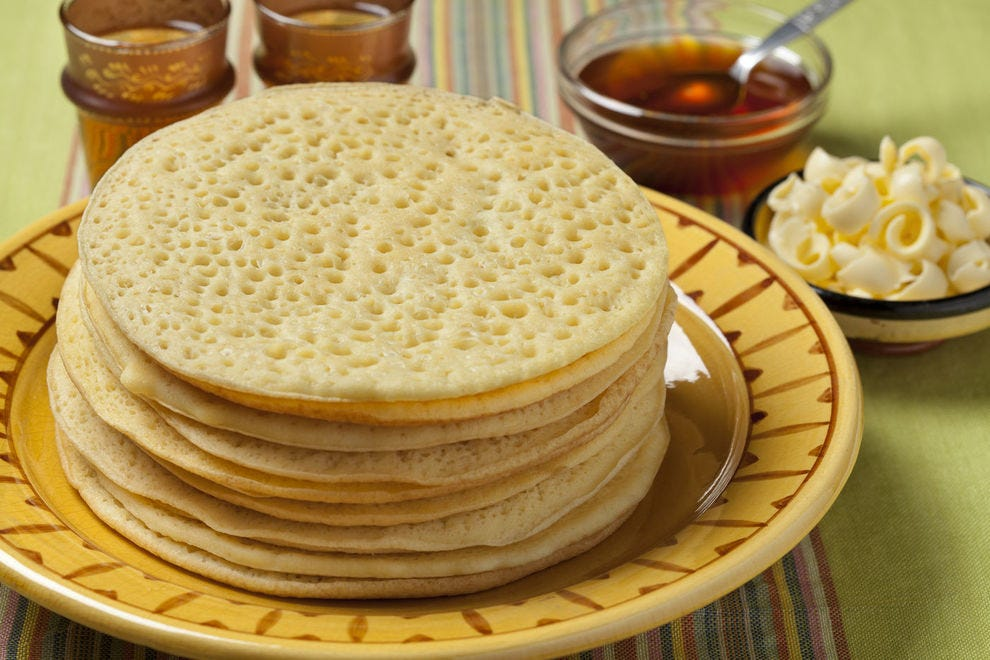 The most notable feature of Morocco's baghrir are the little bubbles that form throughout the pancake, giving it a honeycomb-like texture