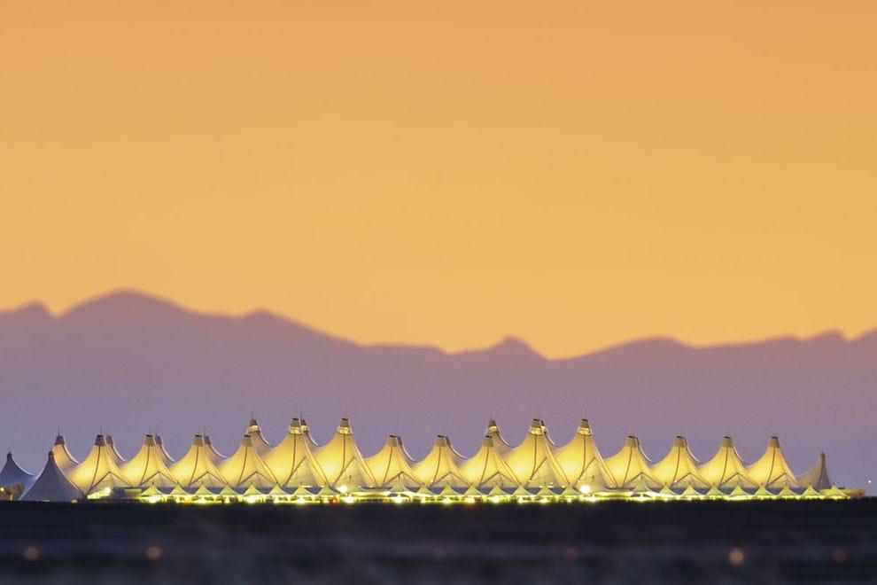 Denver International Airport at sunset
