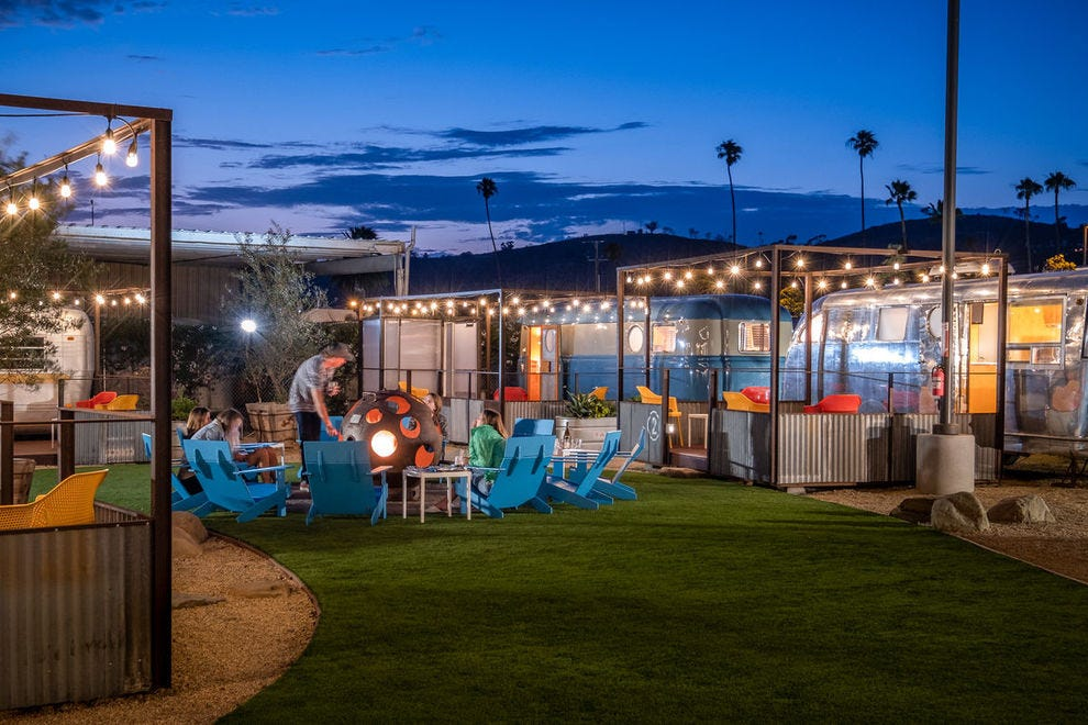 Rent a restored trailer on the beach at this winning resort