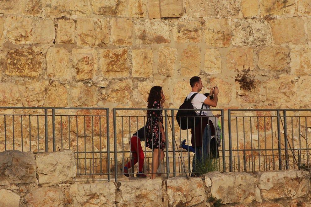 Family exploring the history of Jerusalem