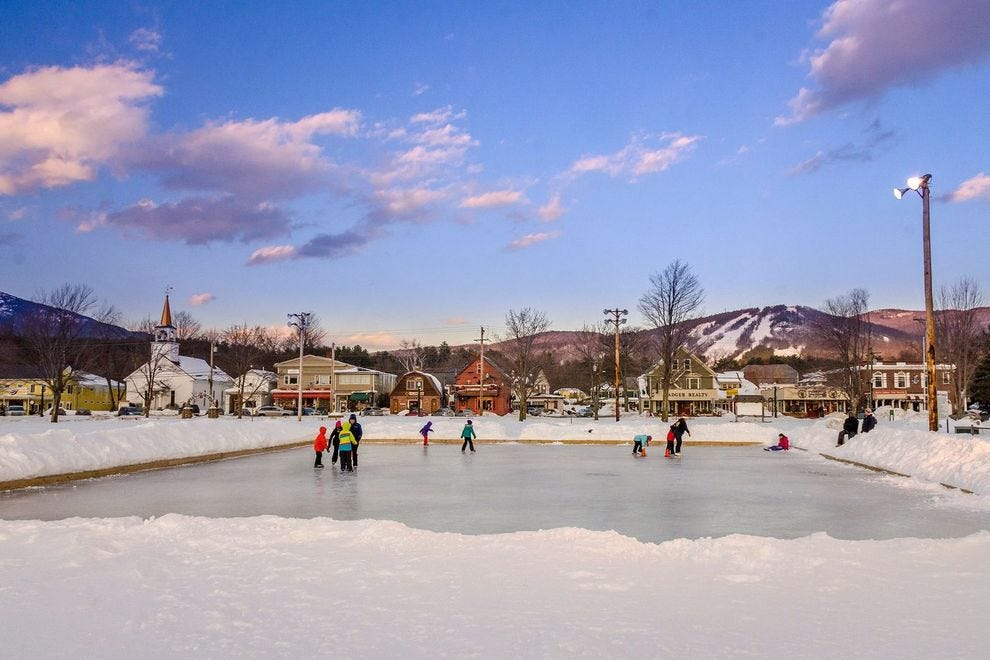 Enjoy the winter splendor of the White Mountains from this winning town
