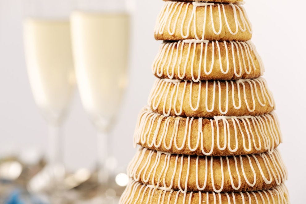 It's customary in Denmark and Norway to have a huge meal for New Year's Eve, so be sure to leave room for Kransekage!