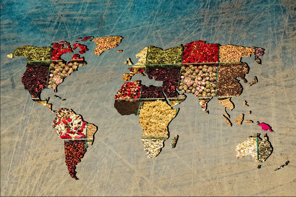 World map made of spices