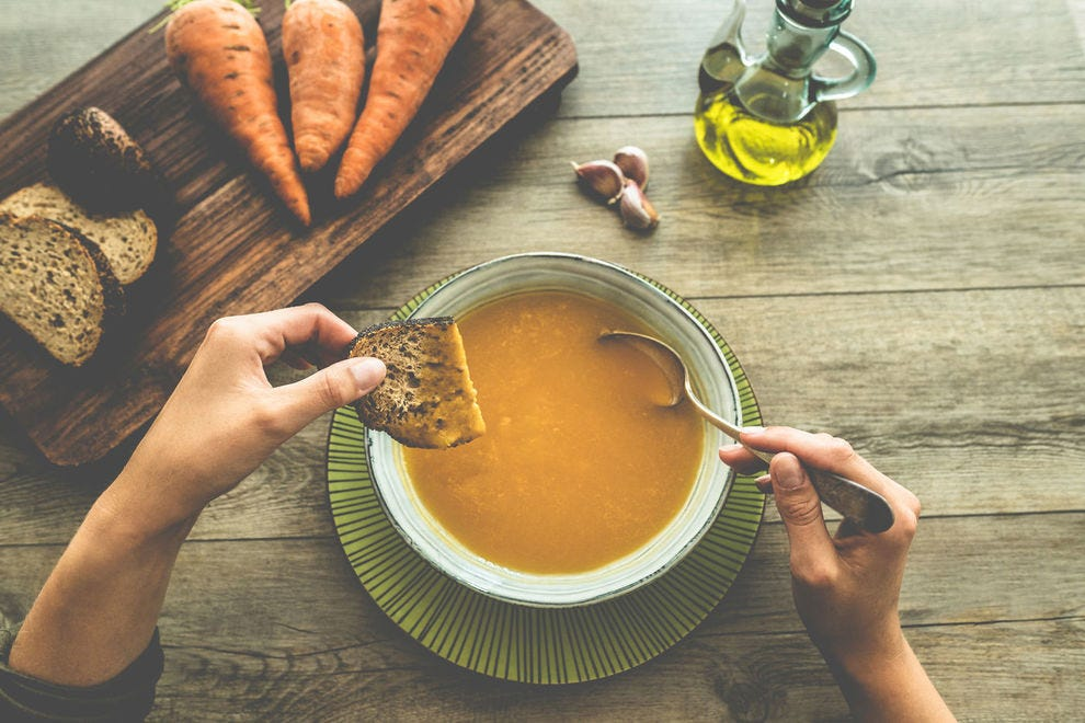 A hearty winter soup with root vegetables