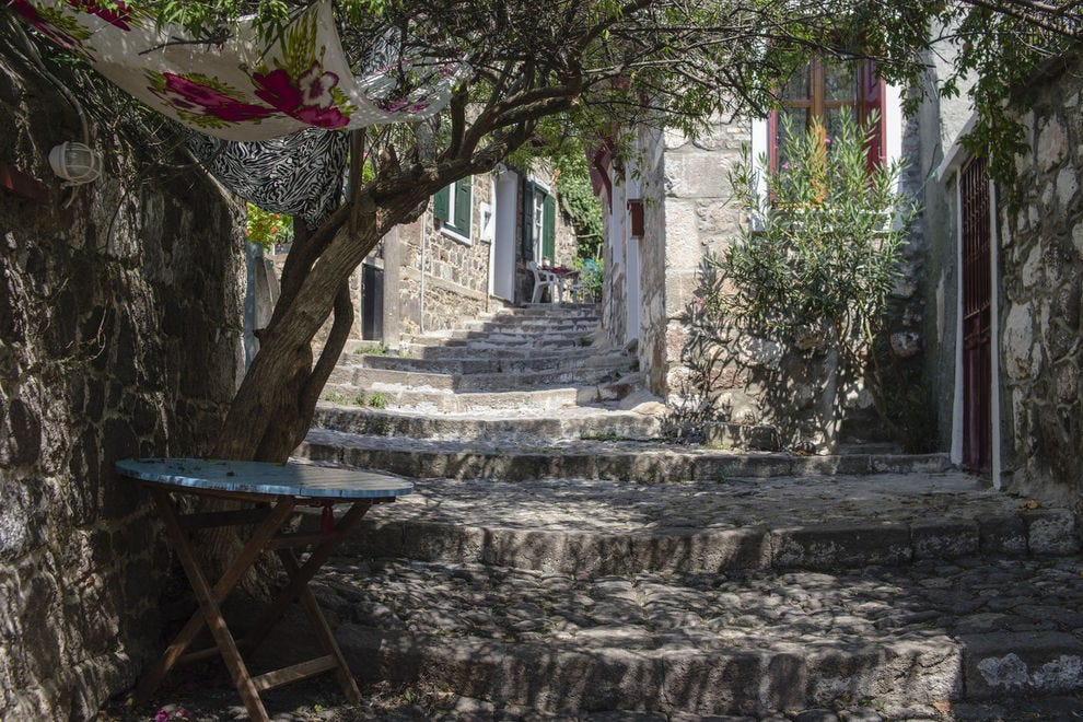 Alley in Mithymna, Greece