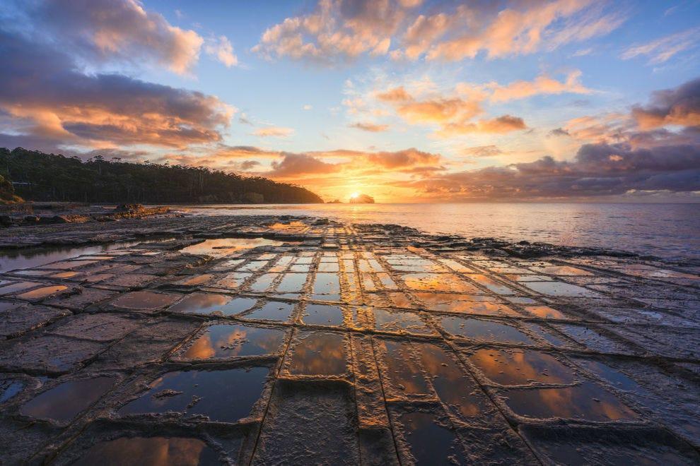 Tessellated Pavement at sunset