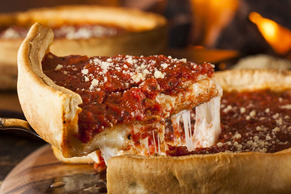 You may need a fork and knife to dig into a Chicago deep dish pizza