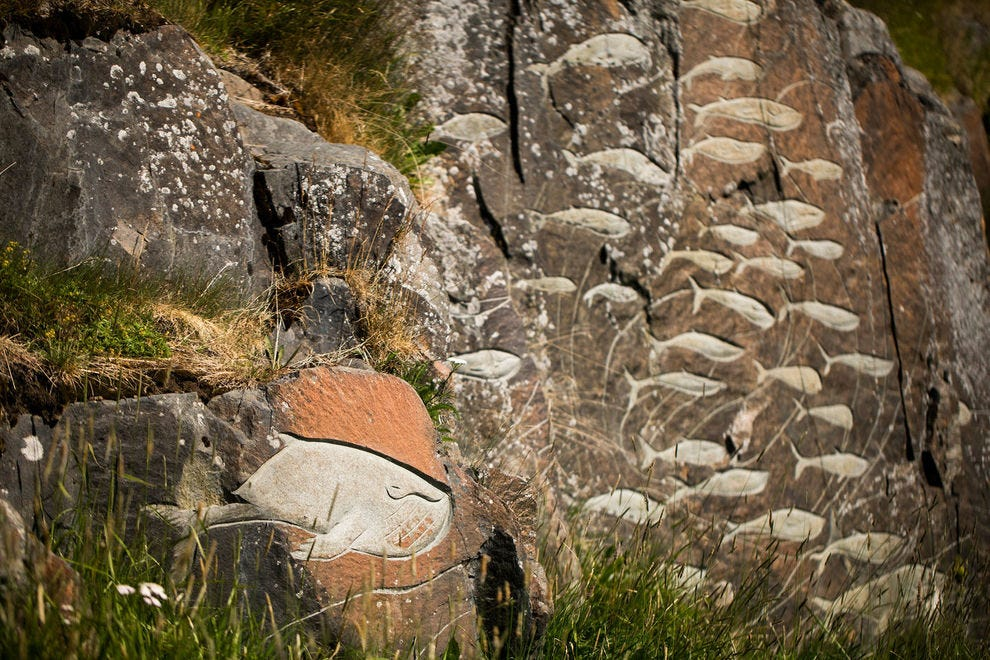 """Rock carvings art in Qaqortoq as a part of """"Stone and Man"""" by Aka Høegh"""