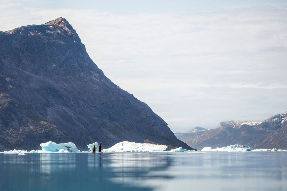People stand-up paddleboarding in the Nuuk Fjord