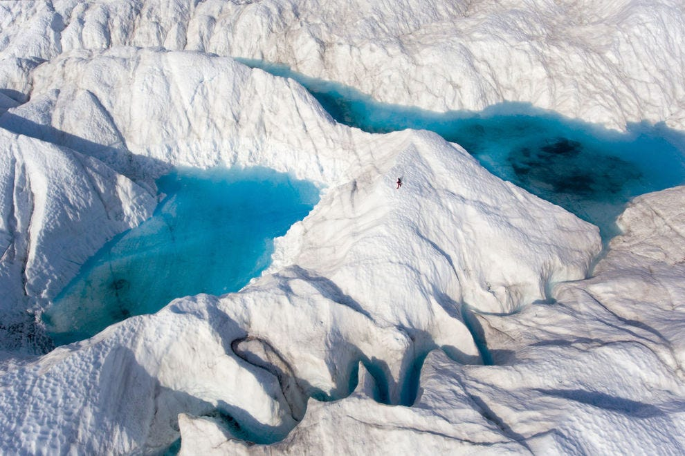 Deep river crevasse on the Greenland Ice Sheet