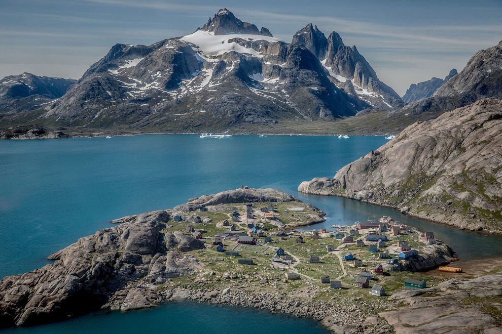 Qilertiki dominates the view in Aappilattoq in South Greenland