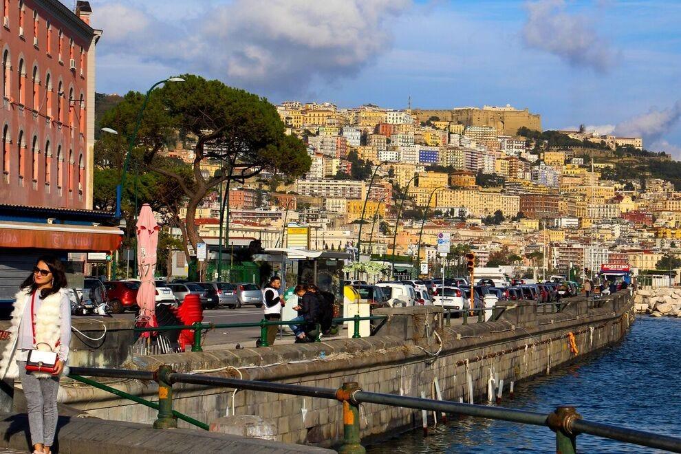 The Lungomare Caracciolo, Naples' famous seafront promenade