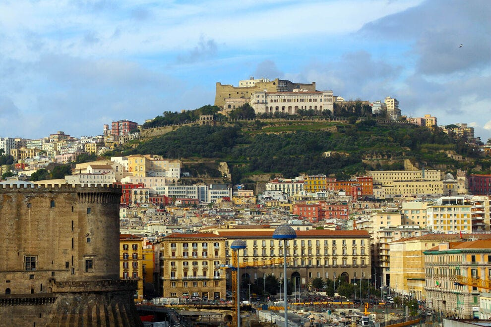 View on the ancient city center of Naples, Italy