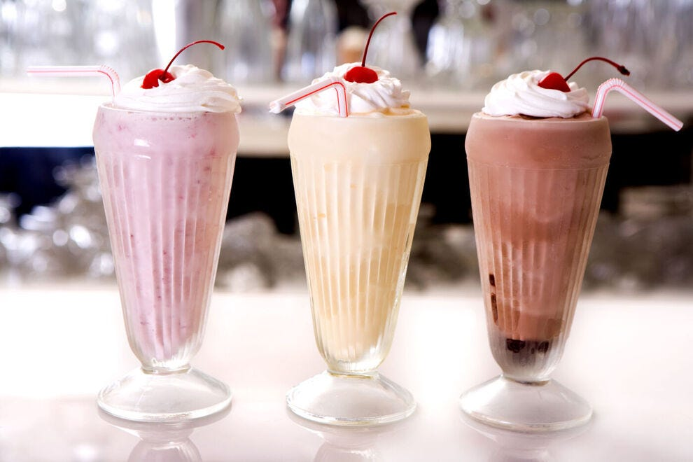 Milkshakes in classic flavors: strawberry, vanilla and chocolate