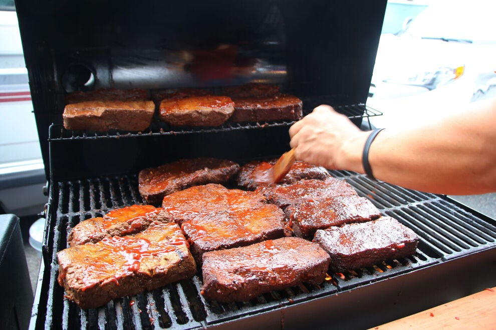Seitan on the grill at Monk's Vegan Smokehouse