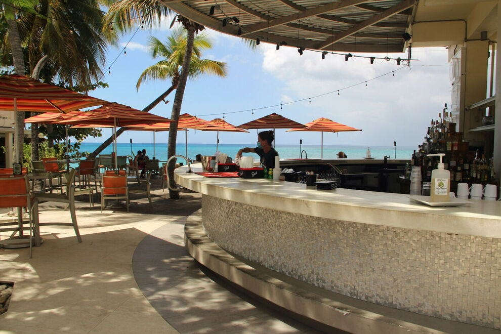 The trendiest place in Frederiksted, The Fred stretches between pool and sea