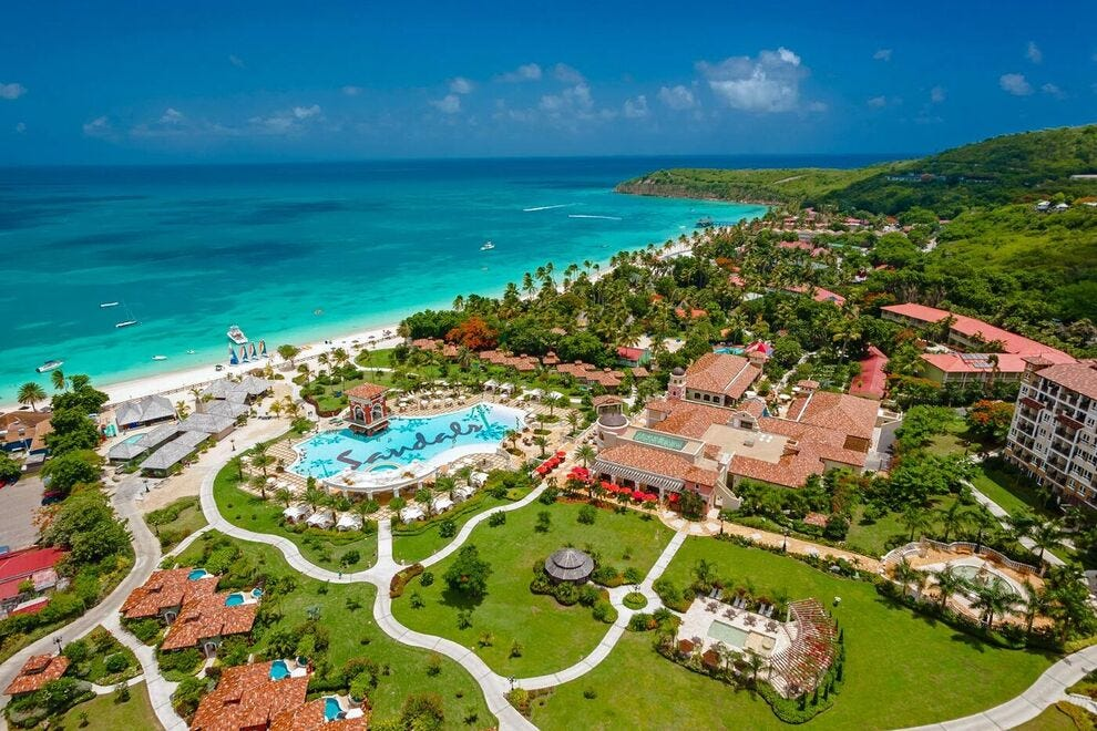 Antigua Sandals Grande on Dickenson Bay lays claim to the largest freshwater pool on the island measuring 15, 000 square feet