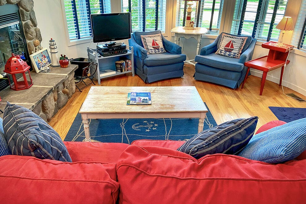 Bright, nautical decor at Sleepy Hollow Beach Resort sets visitors in a vacay state of mind
