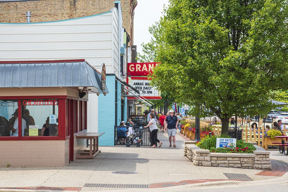 Grand Haven's downtown has restaurants, shopping and strolling going for it