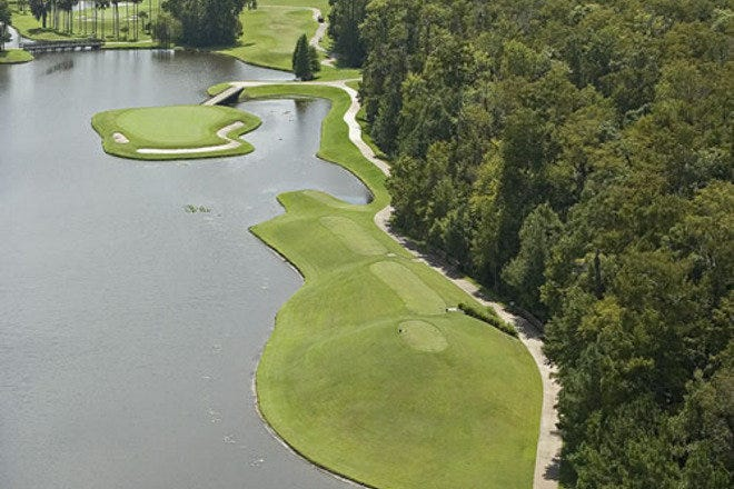 An aerial view of the tee box on the par three 13th hole at Alaqua County Club, a private course just outside of Orlando in Longwood, FL