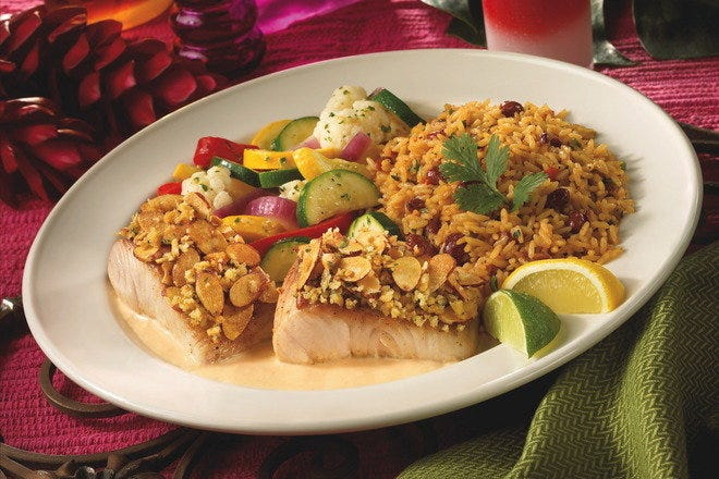 Almond crusted fresh fish entree at Bahama Breeze in Orlando