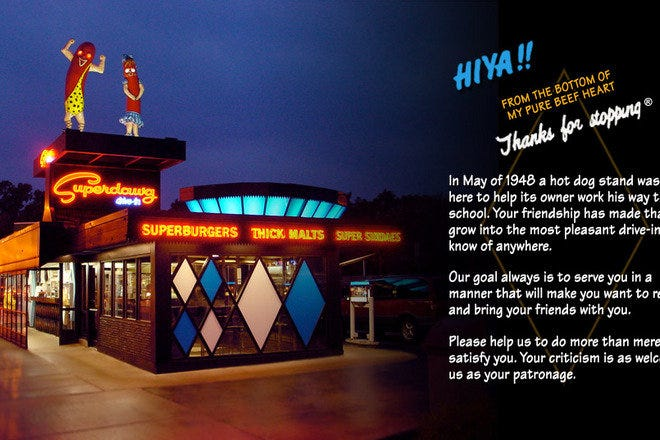 "Drive into Chicago's Superdawg Drive-In where they have been serving that special ""Superdawg"" for over 60 years."