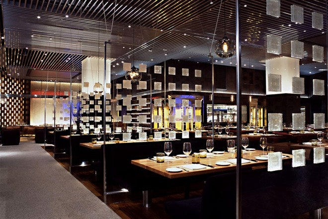 The dining room at Stripsteak restaurant by critically acclaimed chef Michael Mina in Las Vegas, NV