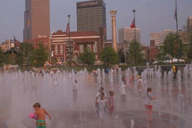 Kids playing at Centennial Olympic Park