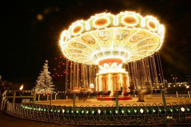 Brightly illuminated rides are a Christmas tradition
