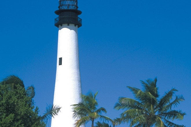 Historic Cape Florida Lighthouse, located in Miami, Florida.