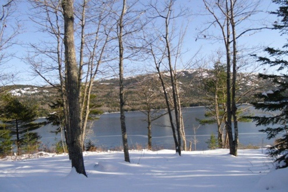 Cross country skiing along Acadia National Park's Eagle Lake