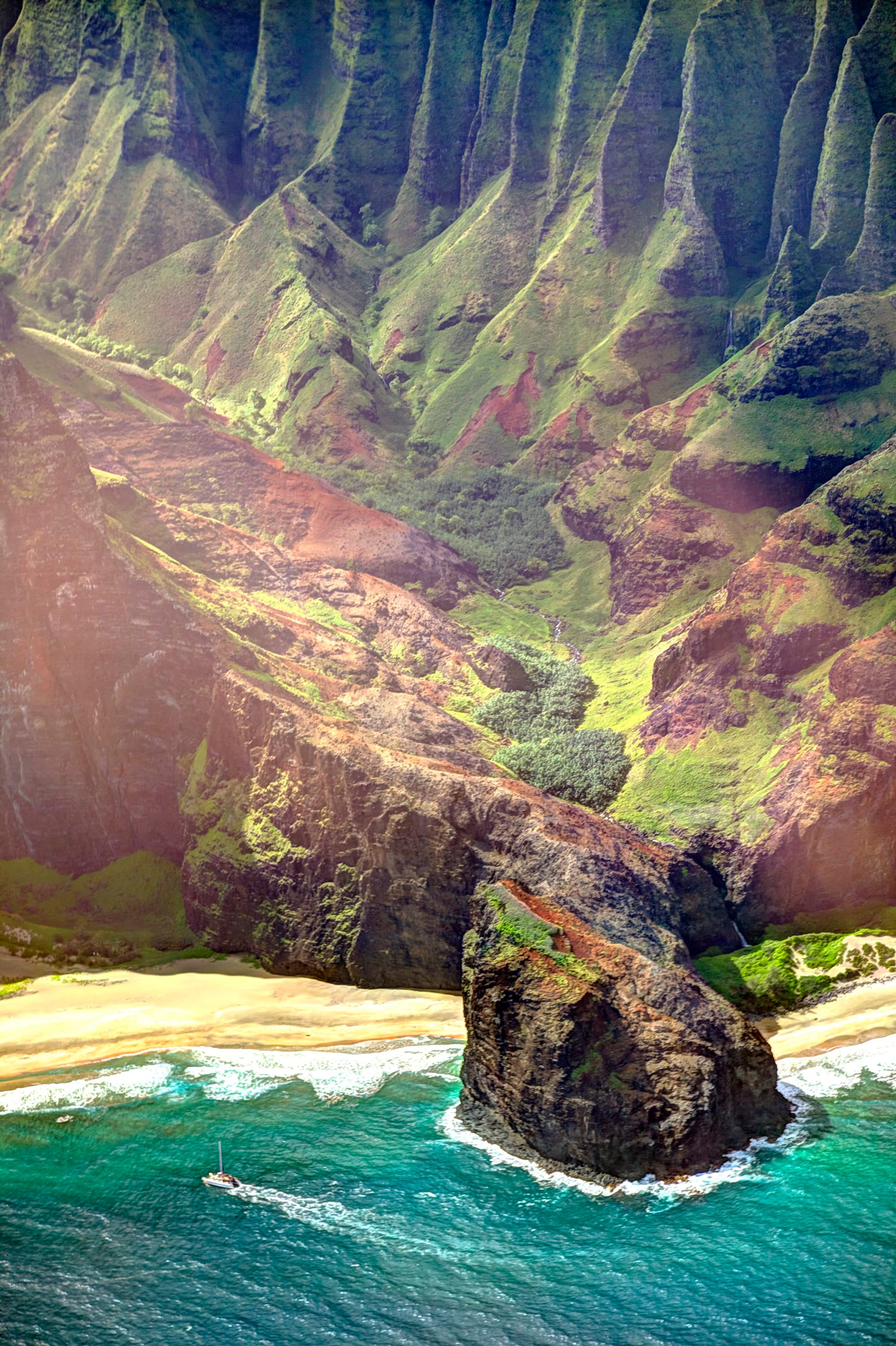 View of Kauai from a helicopter